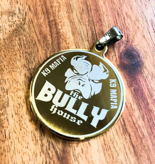 The Bully House - Dog Tag - Medallion - Key Ring GOLD - 3.5cm big (free shipping in oz)