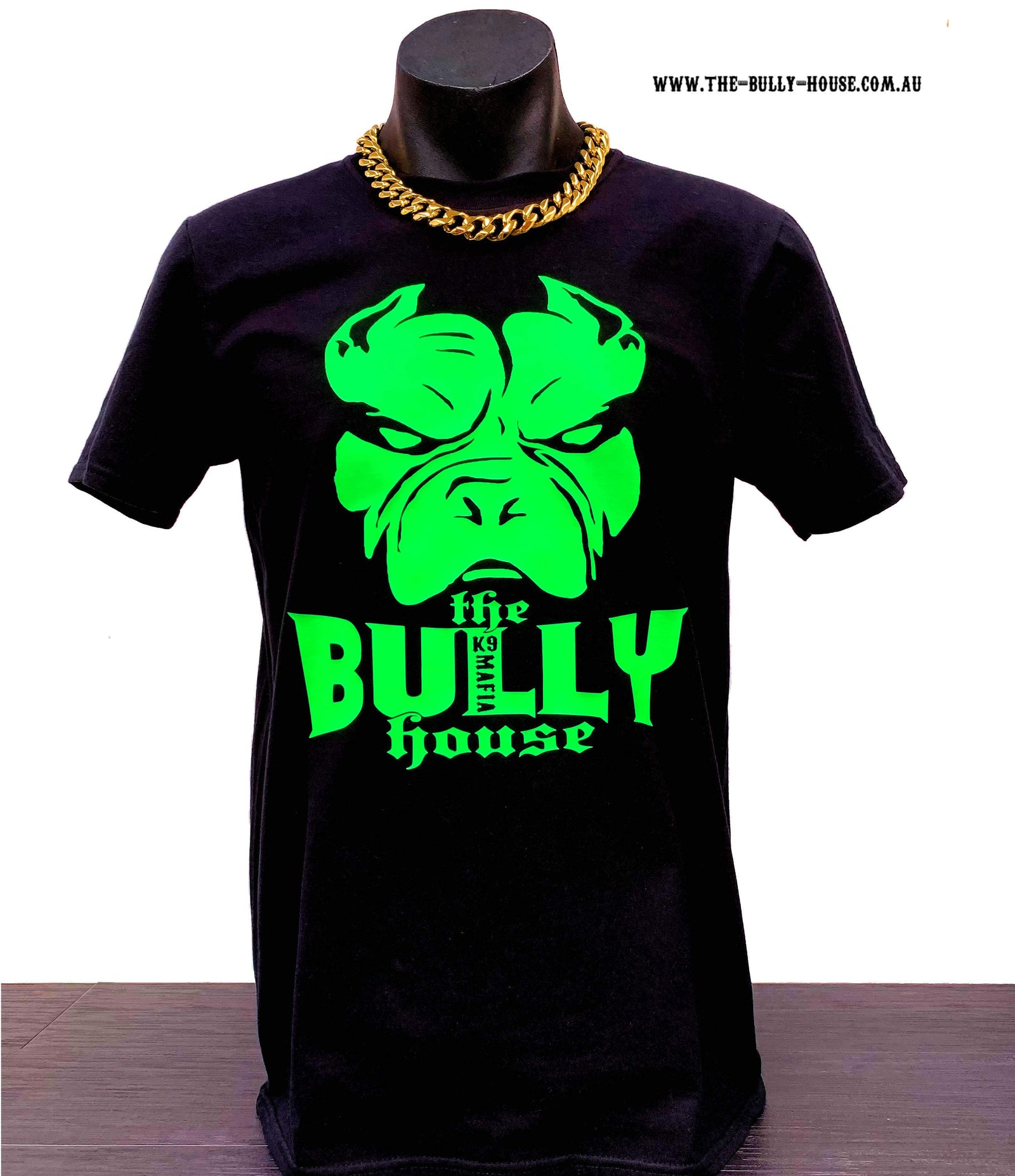 The Bully House - Mens T-SHIRT - FLURO GREEN Print