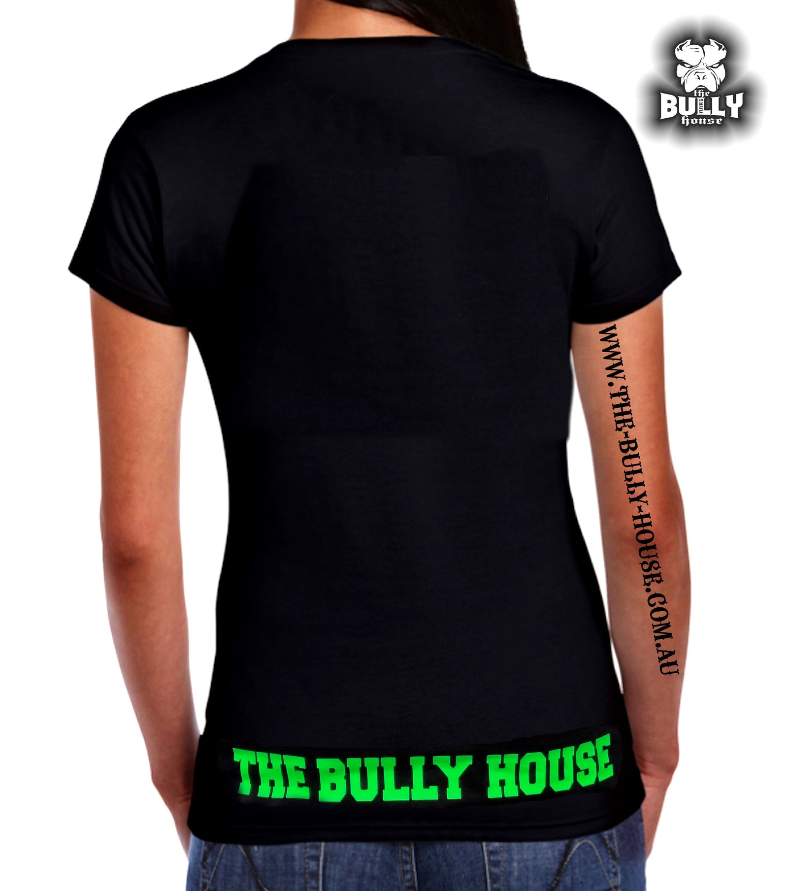 The Bully House - Womens T-SHIRT - FLURO GREEN Print
