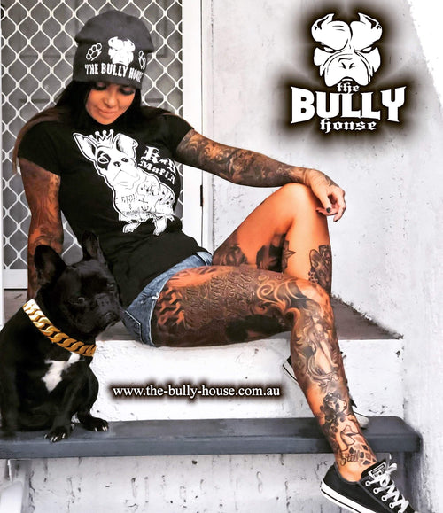 Bad Ass Frenchy Inked - T-SHIRT - WOMENS  CUT (White print)