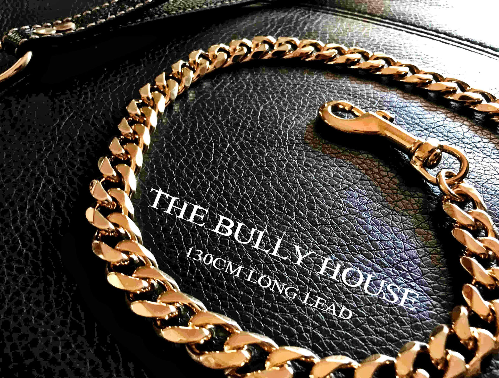 "The Bully House ""LEASH Collection"" GOLD 18mm Wide - 130CM LONG"