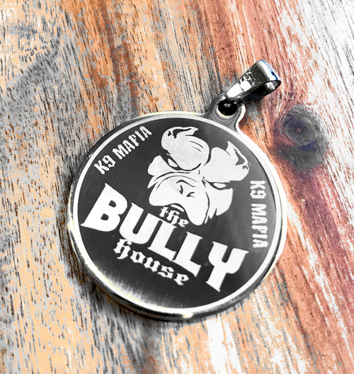 The Bully House - Dog Tag - Medallion - Key Ring SILVER - 3.5cm big (free shipping in oz)