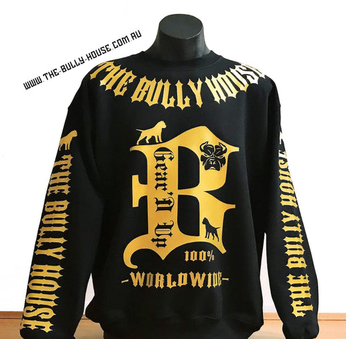 THE BULLY HOUSE Apparel HARDCORE LONG SLEEVE BULLY JUMPERS / (Black and Gold Collection) by THE BULLY HOUSE--(Unisex)