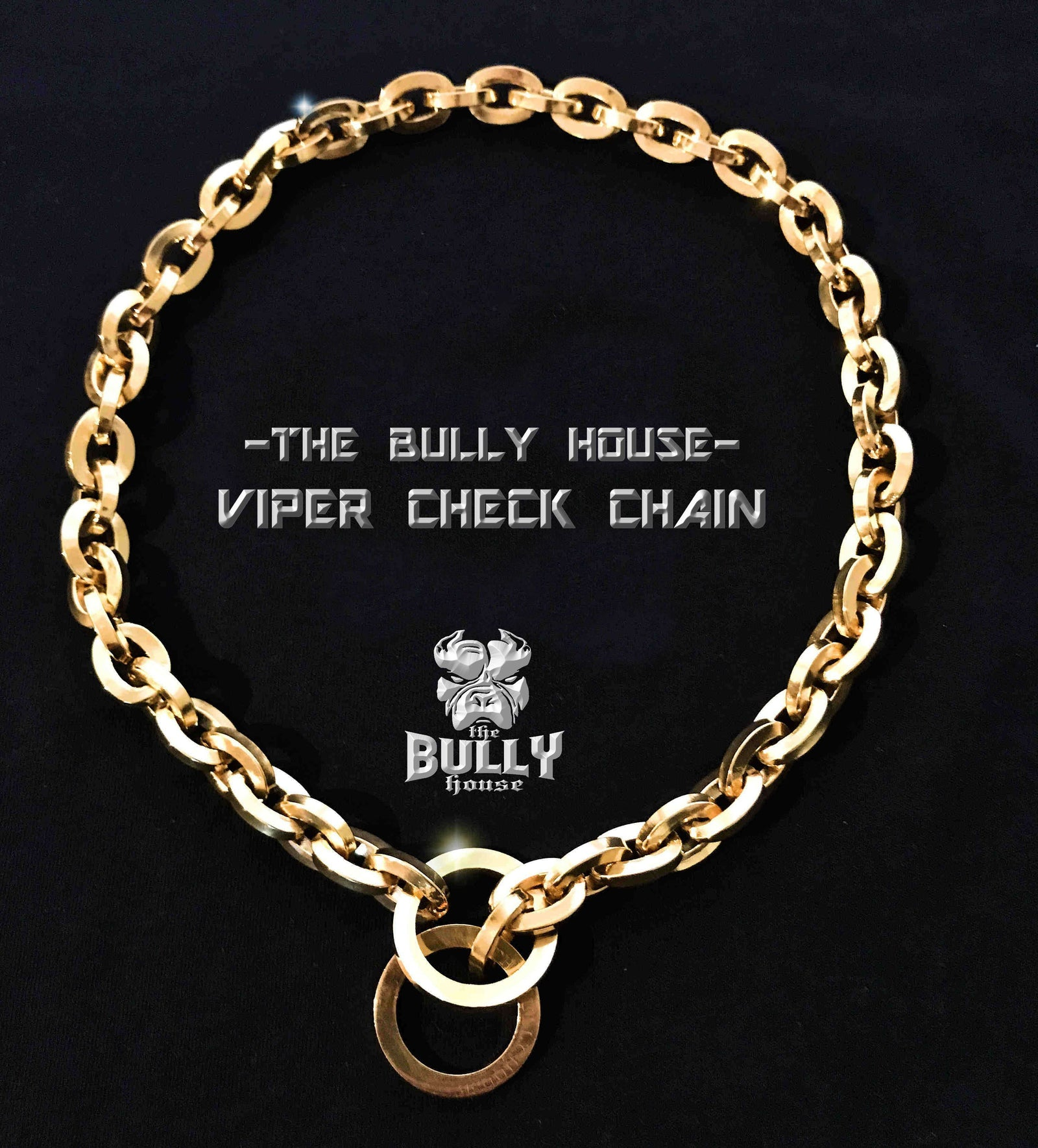 "The Bully House  ""-VIPER- CHECK CHAIN Collection"" GOLD 16mm Wide"