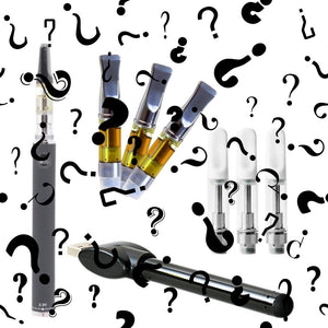 Question Mark Graphics Over Various Vape Pens and Oil Cartridges