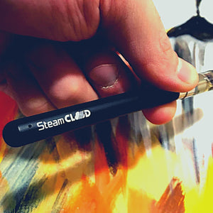 Hand holding SteamCloud oil vape pen