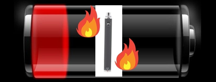 Vape Battery That Needs to Be Charged, Vape with Flames around it