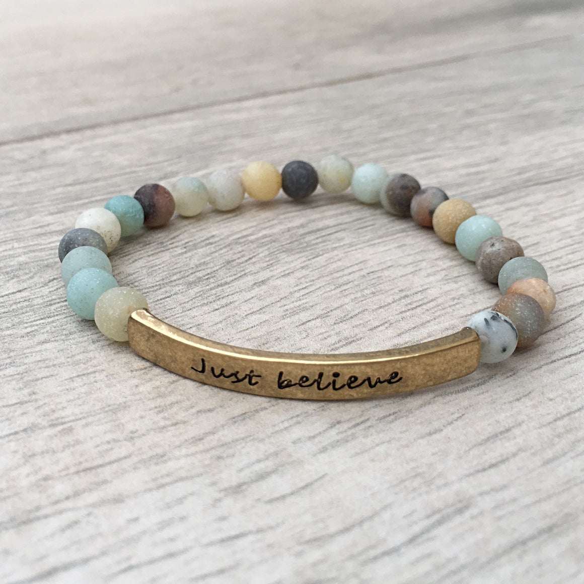GOLD JUST BELIEVE BREATHE BEADS