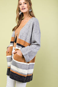 Falling for Fall Color Block Cardigan