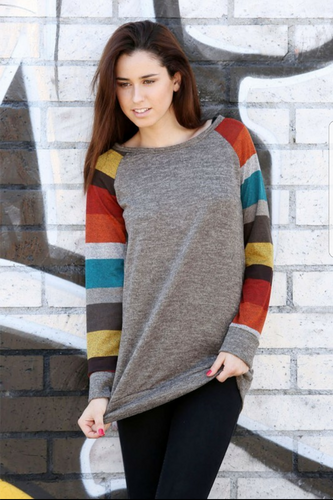 Two Tone Knit Baseball Sweater