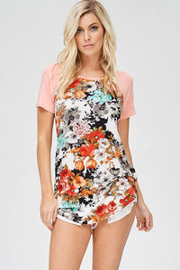 Floral Top with Solid Sleeve