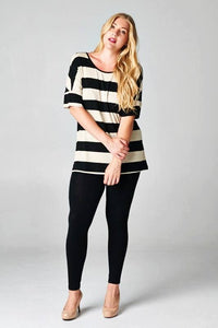 Dual-Front Black and Oat Tunic