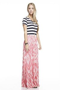 Navy Stripe and Coral Maxi