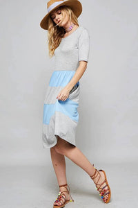Gray and Blue Color Block Dress