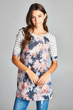 Navy Floral Tunic with Striped Sleeves