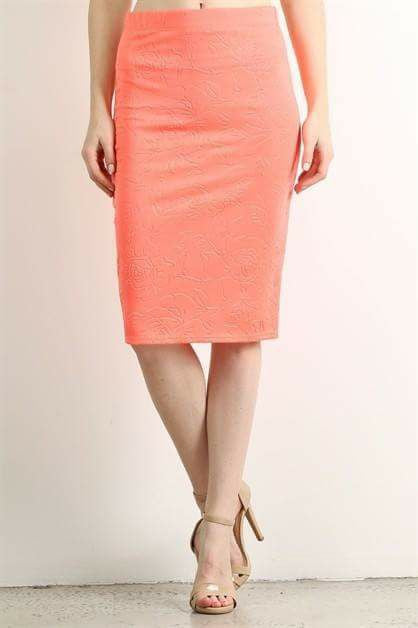 Orange Embossed Floral Pencil Skirt