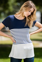 Solid and Stripe Contrast Short Sleeve Top