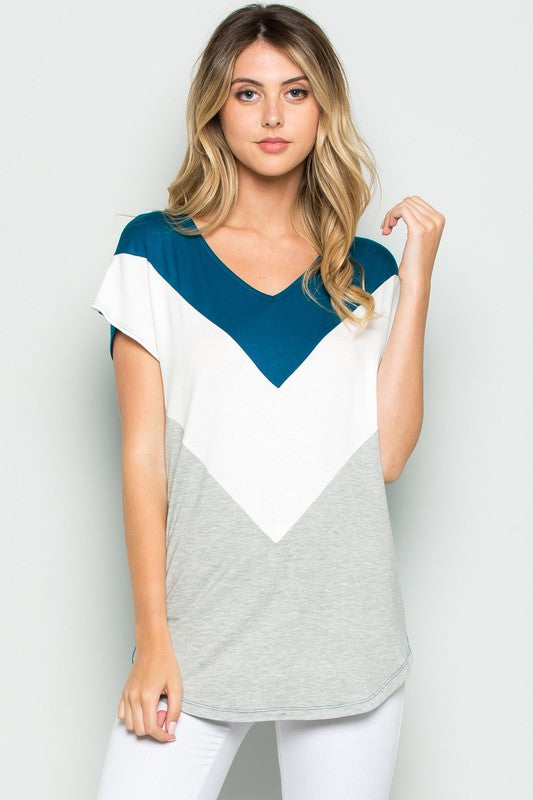 Color Block Chevron Top