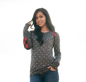 Polka Dot Long Sleeve with Buffalo Plaid Accents