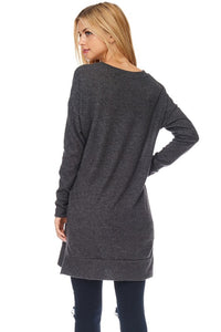 Solid V-neck Sweater Tunic