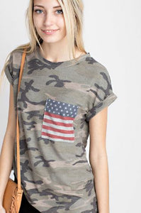 Camo Shirt with Flag Pocket