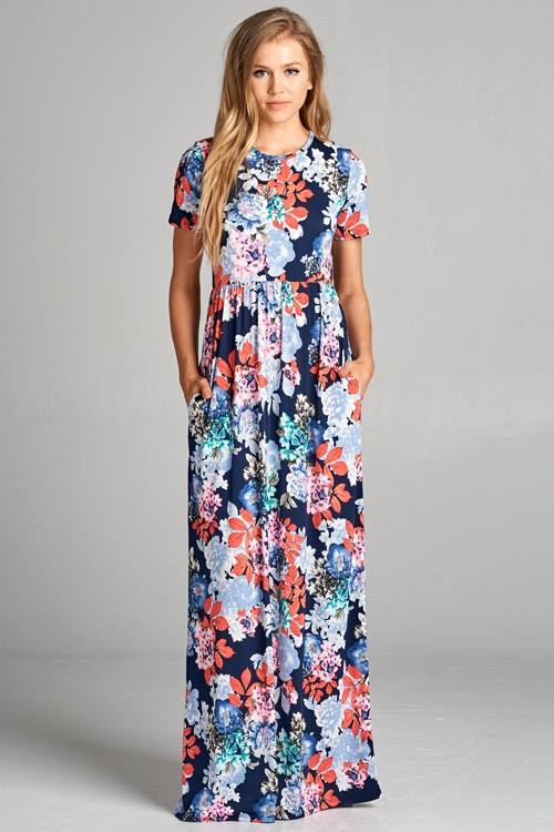 Navy Floral Maxi with Pockets
