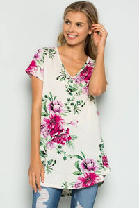 Ivory and Magenta Floral Tunic