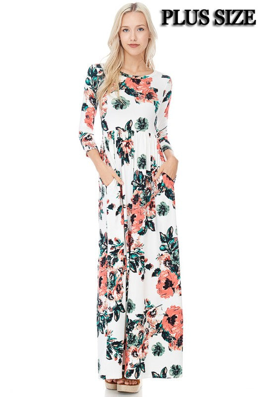 Plus Ivory Floral 3/4 Sleeve Dress with Pockets