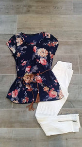 Navy Floral Top with Belt