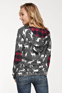 Stag Hoodie with Plaid Accents