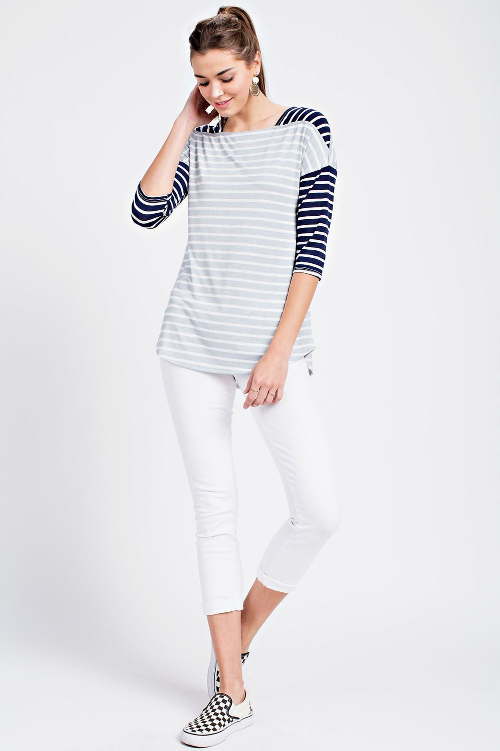 Contrast Color Stripe Top