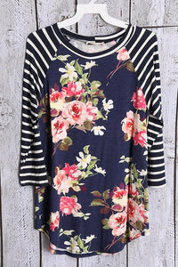 Plus 3/4 Sleeve Navy Floral Baseball Tee
