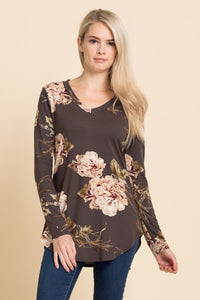 Charcoal V-Neck Floral Long Sleeve