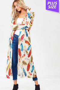 Feather Print Long Cardigan