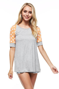 Peach Polka Dot Sleeve Shirt