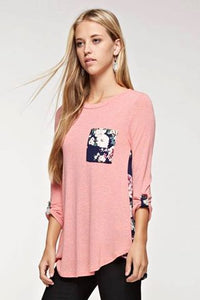 Pink with Navy Floral Top