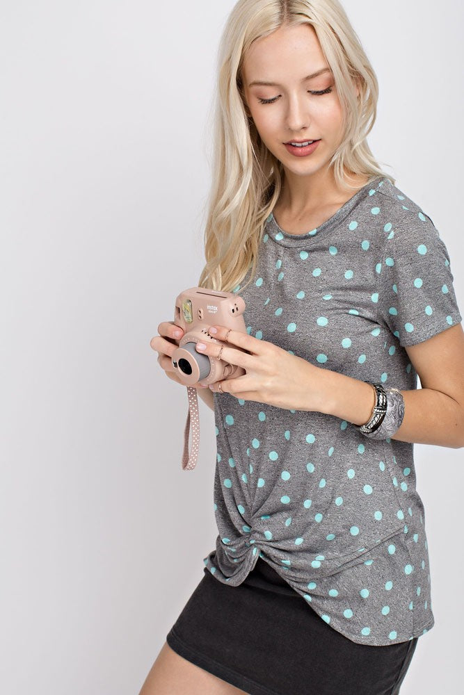 Mint Polka Dot Twisted Hem Tee