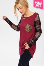 Sequin Pocket Plaid Sleeve Top