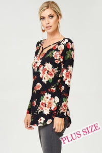 Black Floral Top with Neck Detail