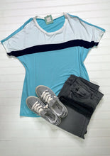 Ivory/Aqua Color Block Top