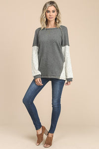 French Terry Color Block Top