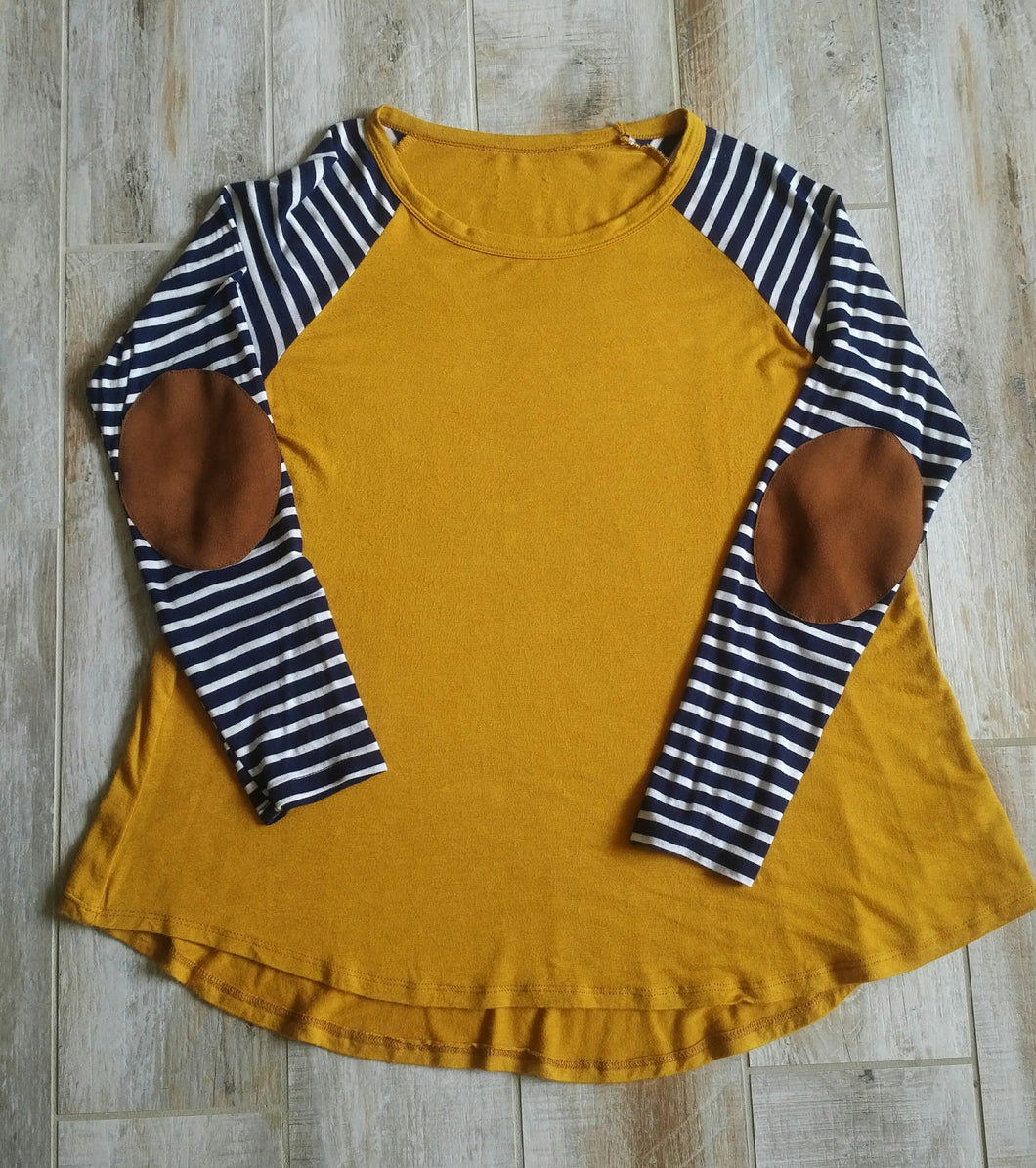 Mustard Top with Stripe Sleeve