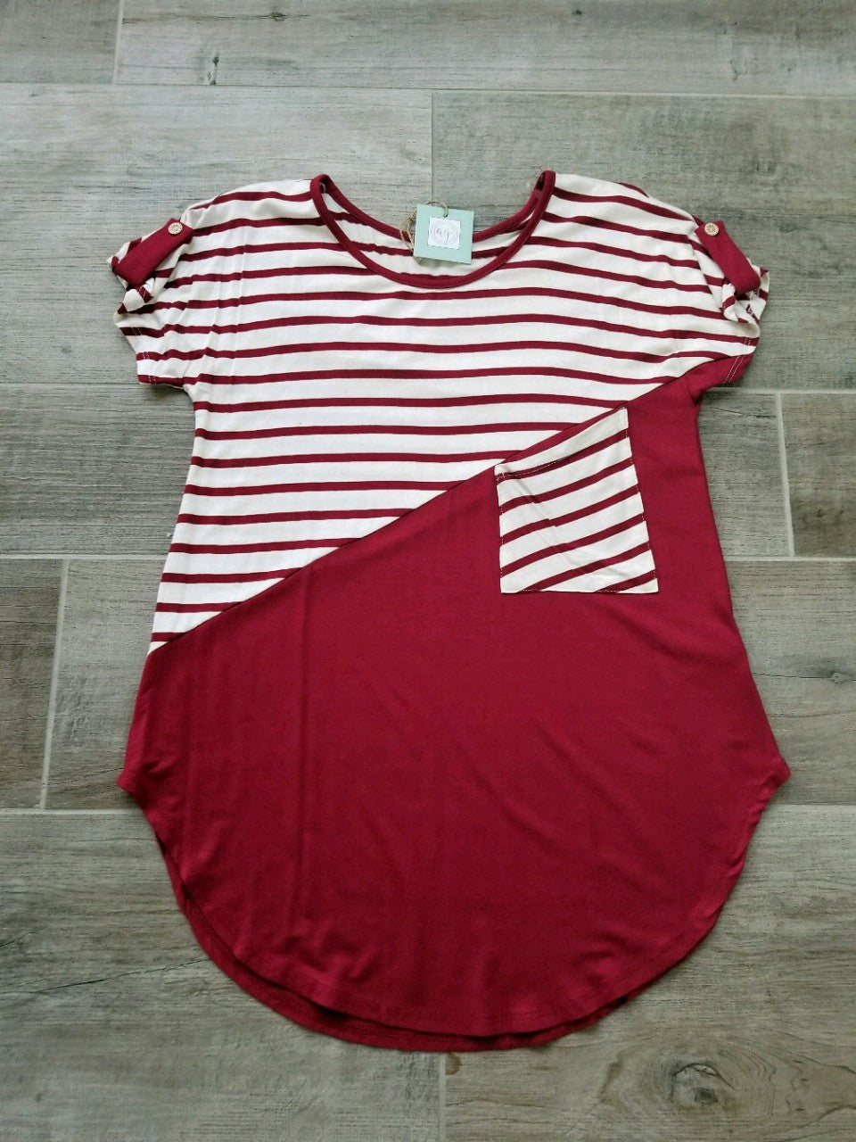 Burgundy Stripe Color Block Top