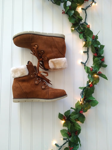 Camel Tie-Up Bootie with Faux Fur Trim
