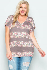 Plus Size Gray Tee with Floral Stripes