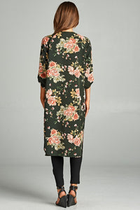 Floral 3/4 Sleeve Long Cardigan