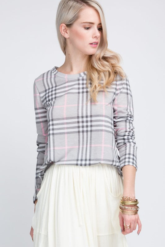 Sweet Gray and Pink Plaid Top