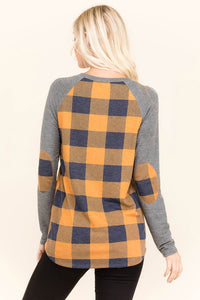 Mustard and Charcoal Buffalo Check Top