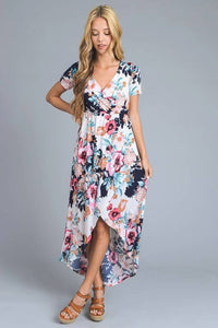 Ivory Floral Hi-Low Dress