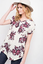 Floral French Terry V-Neck